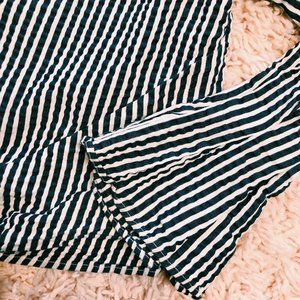H&M Tops - H&M Tie-Front Gray & White Striped Shirt